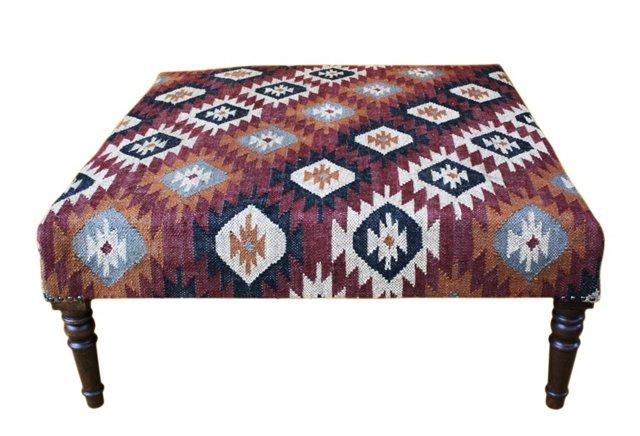 Imogen Kilim-Upholstered Ottoman