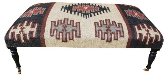 Kate Upholstered Ottoman, Beige/Multi