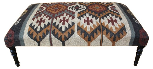 Lucia Kilim-Upholstered Ottoman