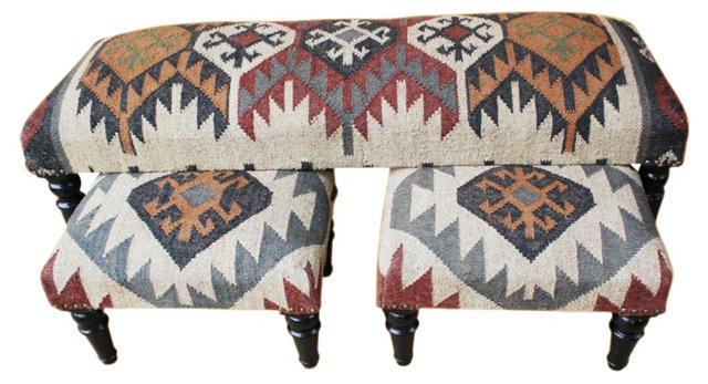 *Nolan Upholstered Bench w/ Footstools