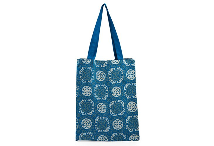 Small Cotton Medallion Tote, Blue