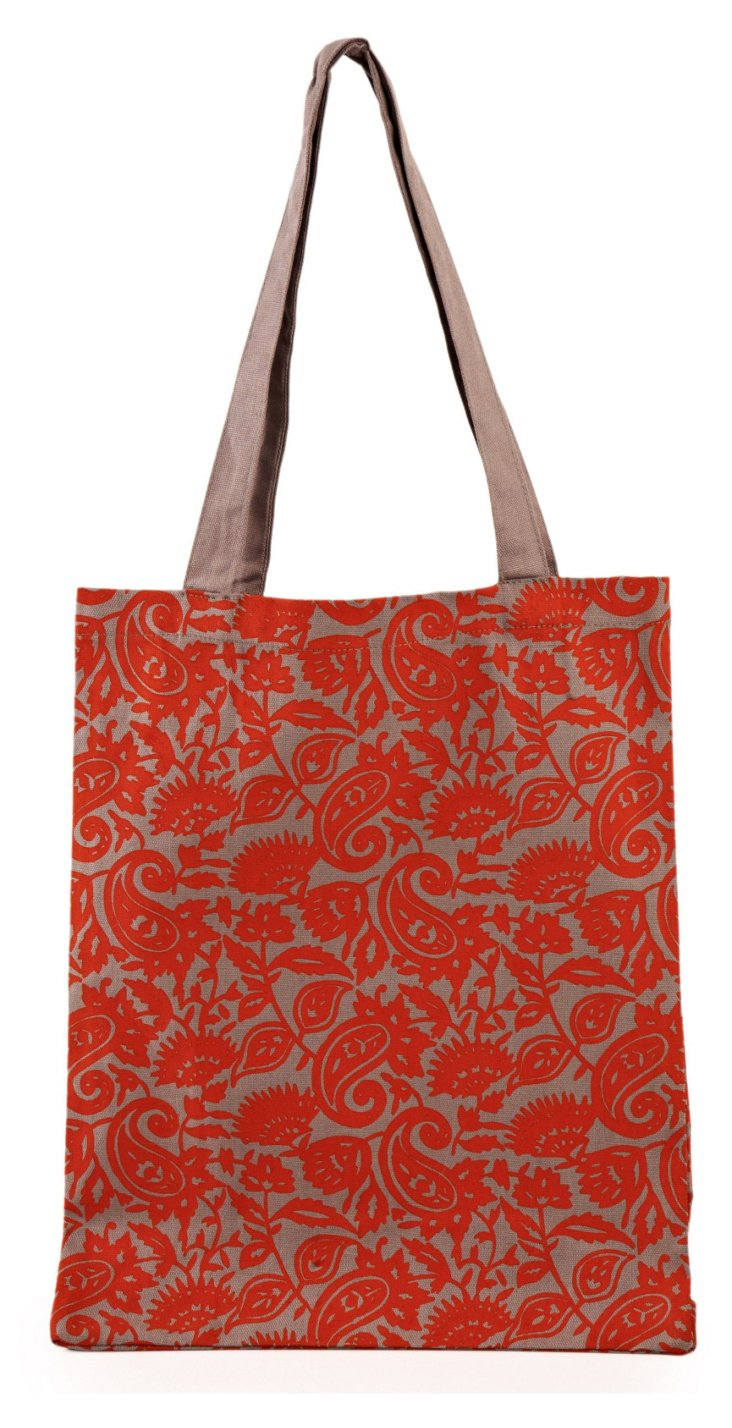 Small Cotton Paisley Tote, Red