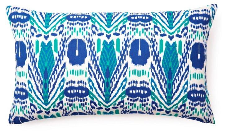 Chevron Ikat 14x24 Pillow, Aqua