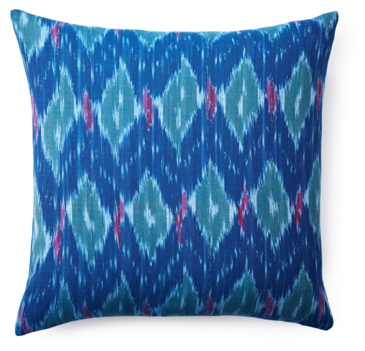 Vibrant 20x20 Cotton Pillow, Blue