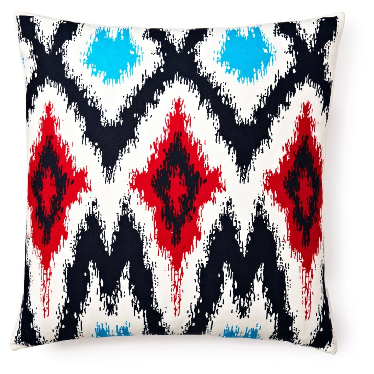 Ikat 20x20 Cotton Pillow, Red/Multi