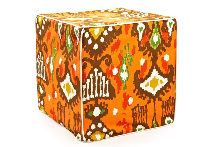 Dijon Ikat Pouf, Orange/Brown