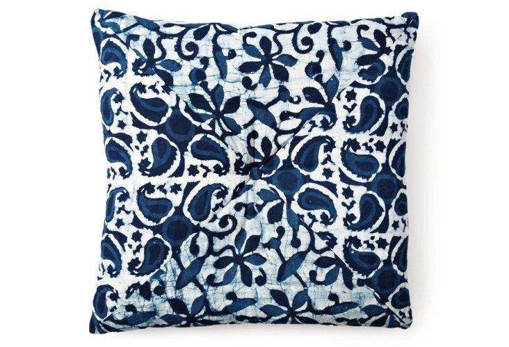 Batik Fleur 24x24 Pillow, Blue