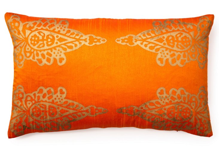 Pasha Khari 14x24 Pillow, Rust Orange