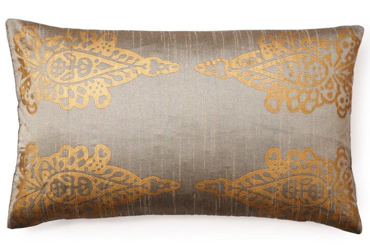 Pasha Khari 14x24 Pillow, Gray