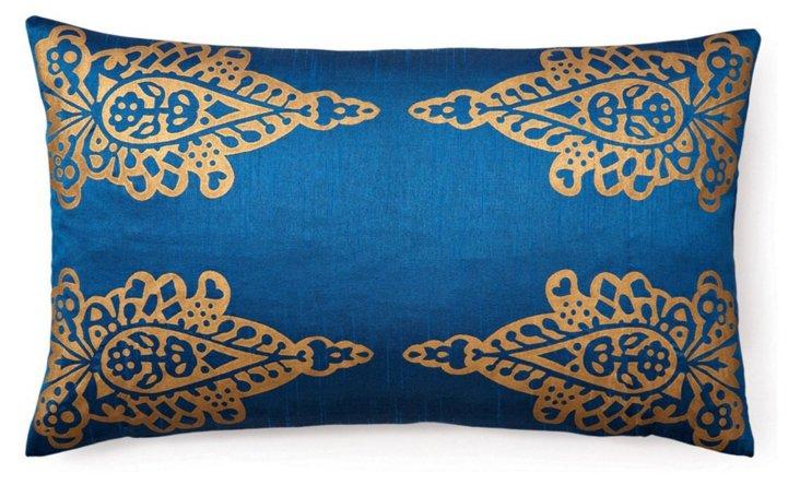 Khari 14x24 Silk-Blend Pillow, Blue