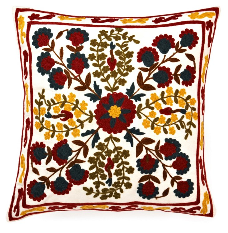 Bordered 16x16 Embroidered Pillow, Multi
