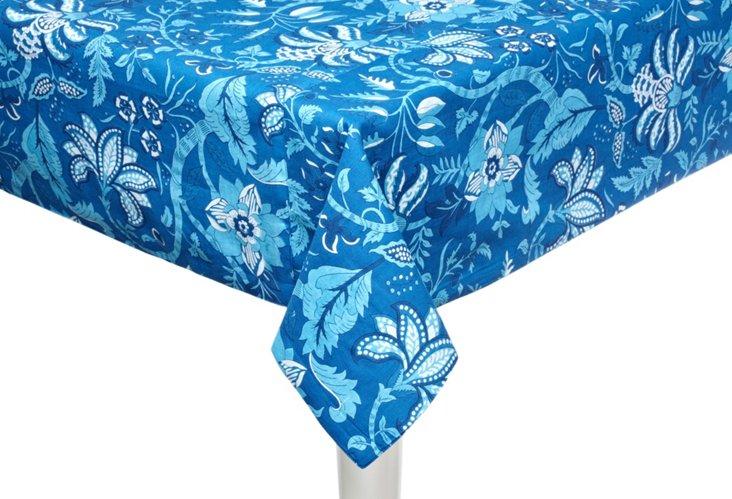 """Aqua Amalfi Tablecloth, 60"""" x 90"""""""