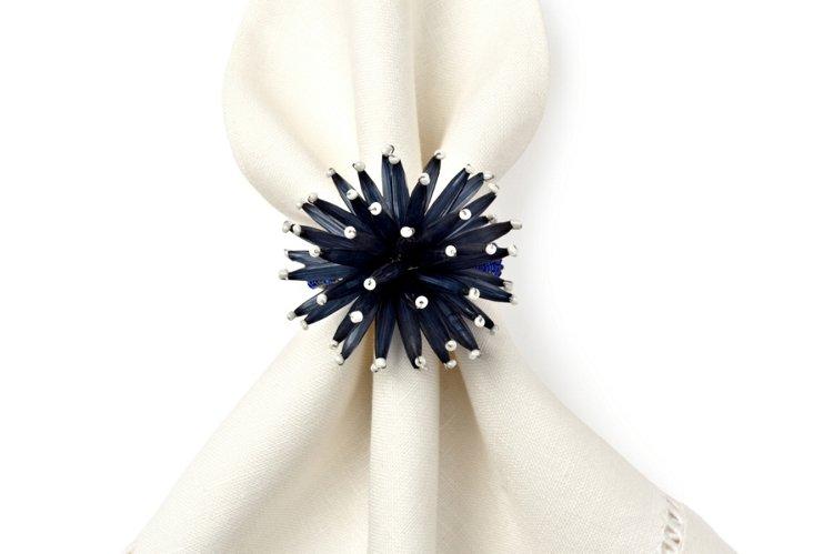 S/4 Starburst Napkin Rings, Blue