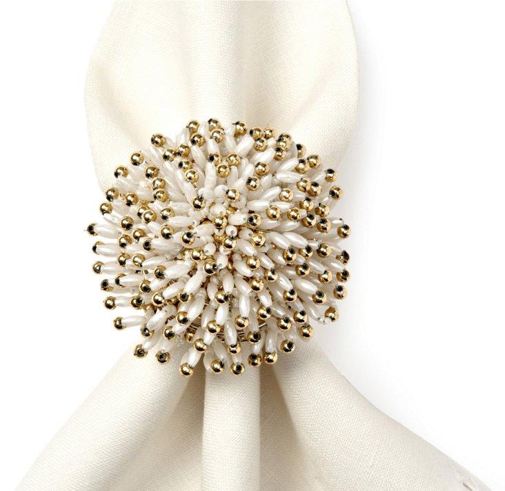 S/4 Sunburst Napkin Rings, White