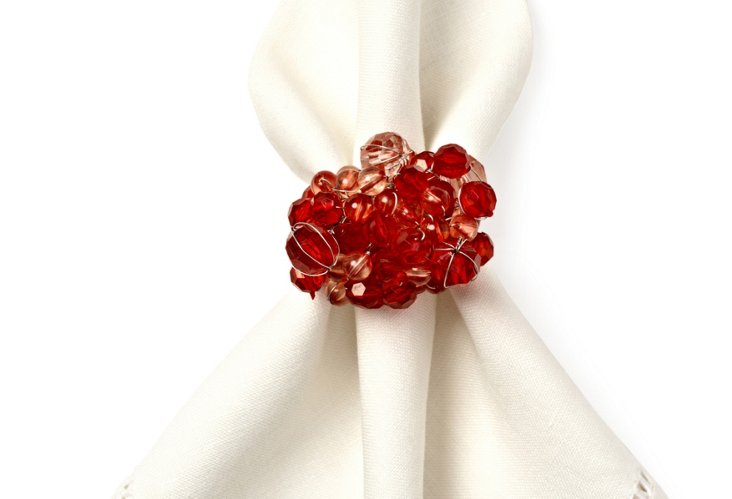 S/4 Round Bubbles Napkin Rings, Red