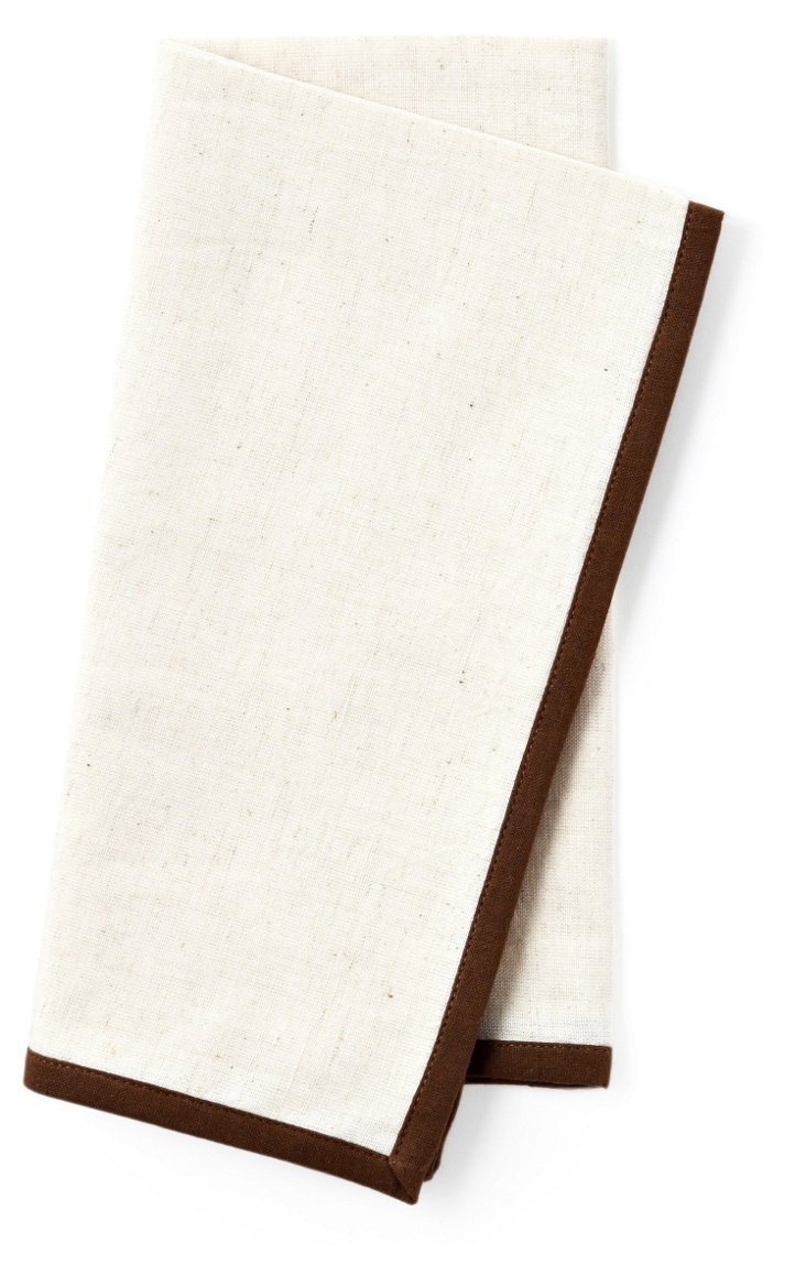 S/4 Flax Linen Napkins, Dark Brown