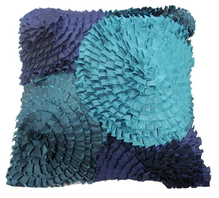 Ruffles 16x16 Pillow, Ocean Blue