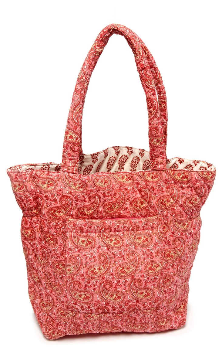 Paisley Quilted Cotton Tote, Coral