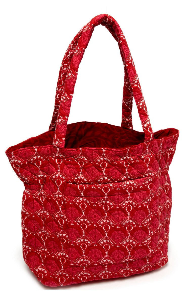 Susan Floral Quilted Cotton Tote, Red