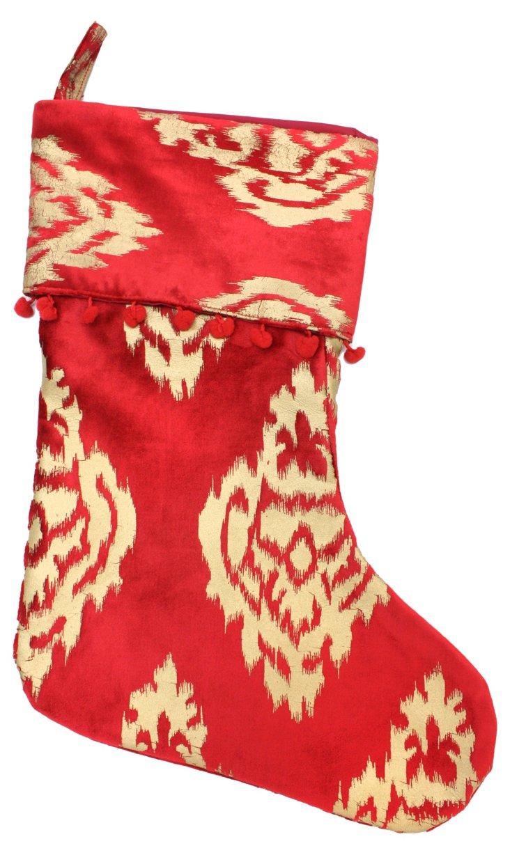 """15"""" Ikat Damask Stocking, Red/Gold"""