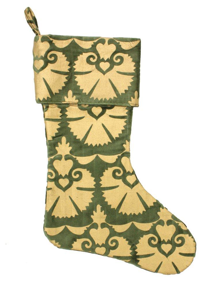 """15"""" Mandwa Stocking, Green/Gold"""