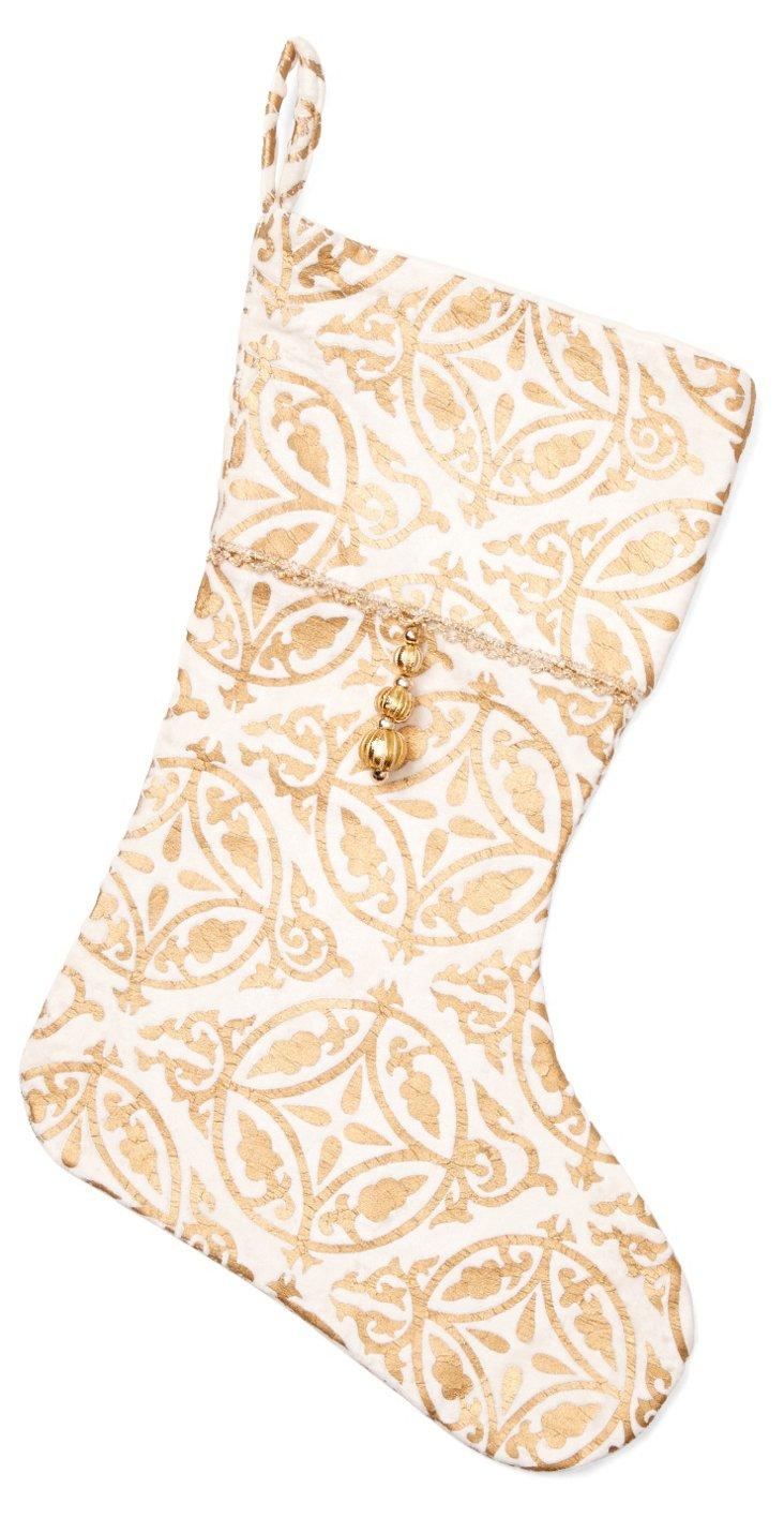 """15"""" Khari Stocking, White/Gold"""