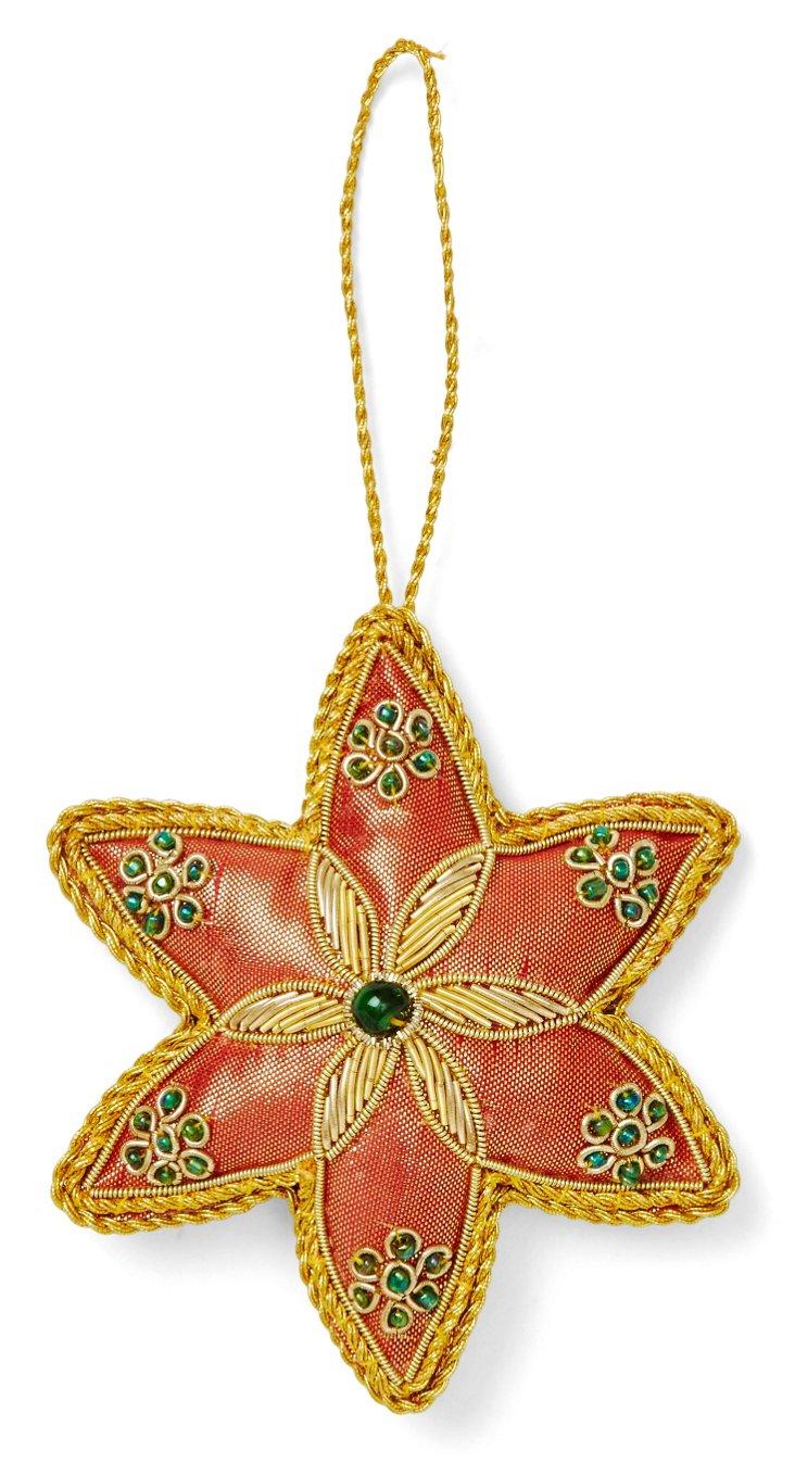 "4"" Beaded Star Ornament, Bronze"