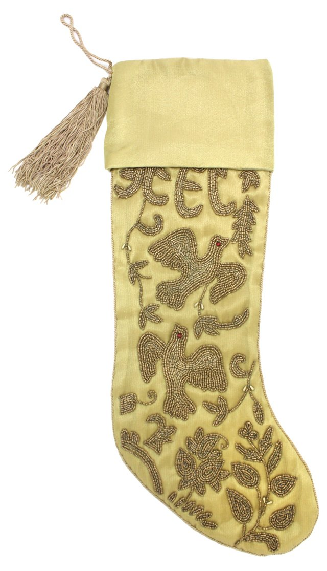 "15"" Stocking w/ Beading, Gold"