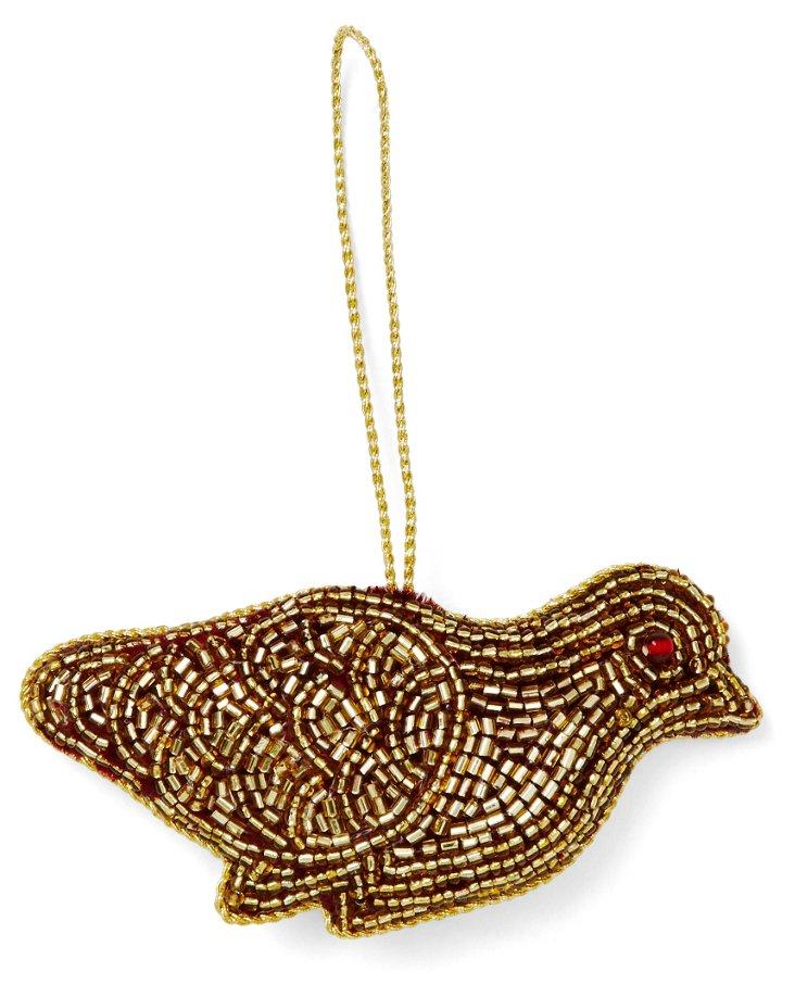 "4"" Beaded Bird Ornament, Gold/Maroon"