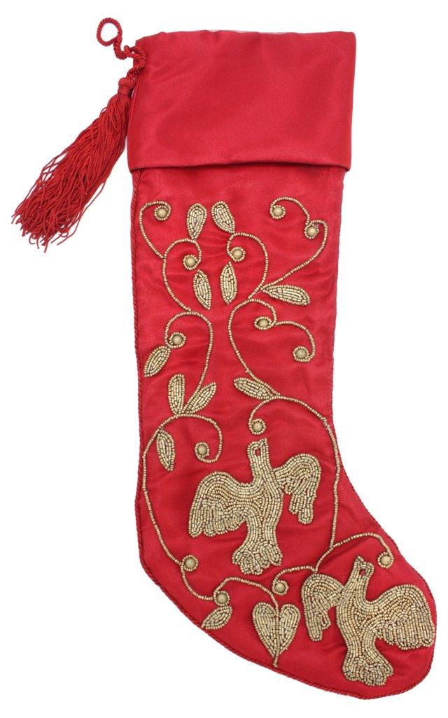 "15"" Beaded Birds Stocking, Red/Gold"