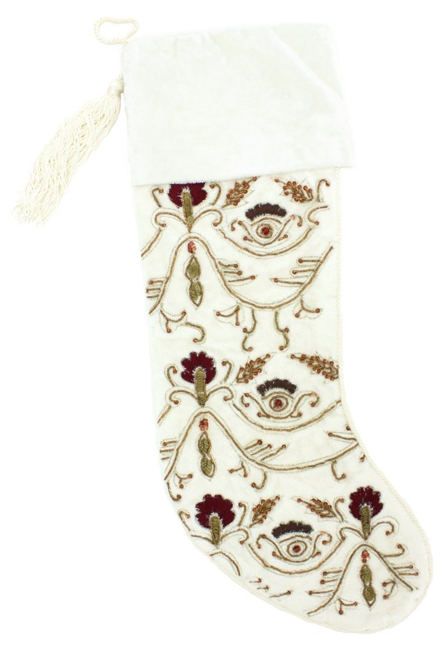 "15"" Ornate Beaded Stocking, Red/White"