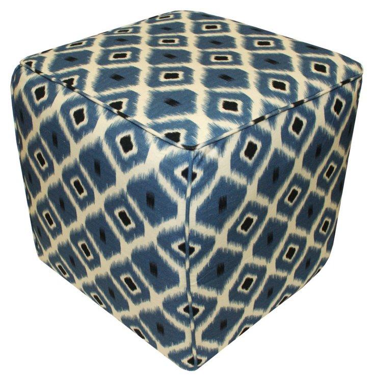 Amelia Geometric Ikat Pouf, Blue/Multi