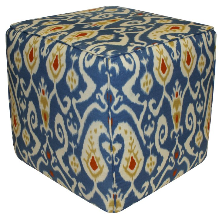 James Ikat Pouf, Blue/Multi
