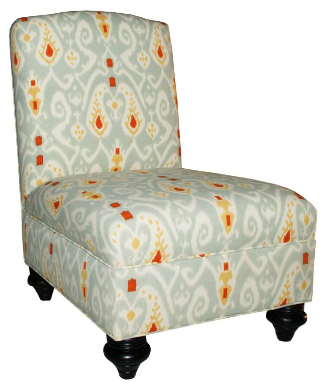 Mabel Ikat Upholstered Chair, Gray/White