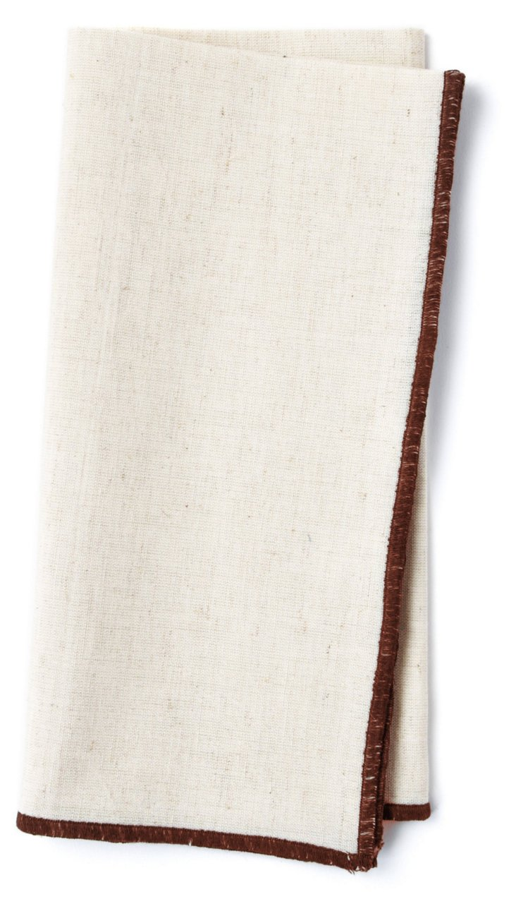 S/4 Embroidered Border Napkins, Brown