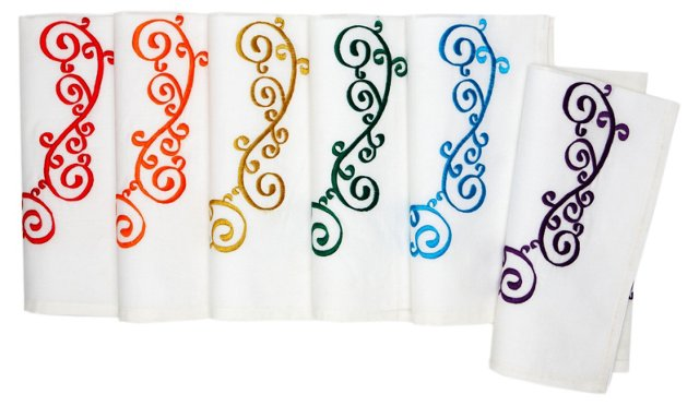 Asst of 6 Scroll Napkins, Bright