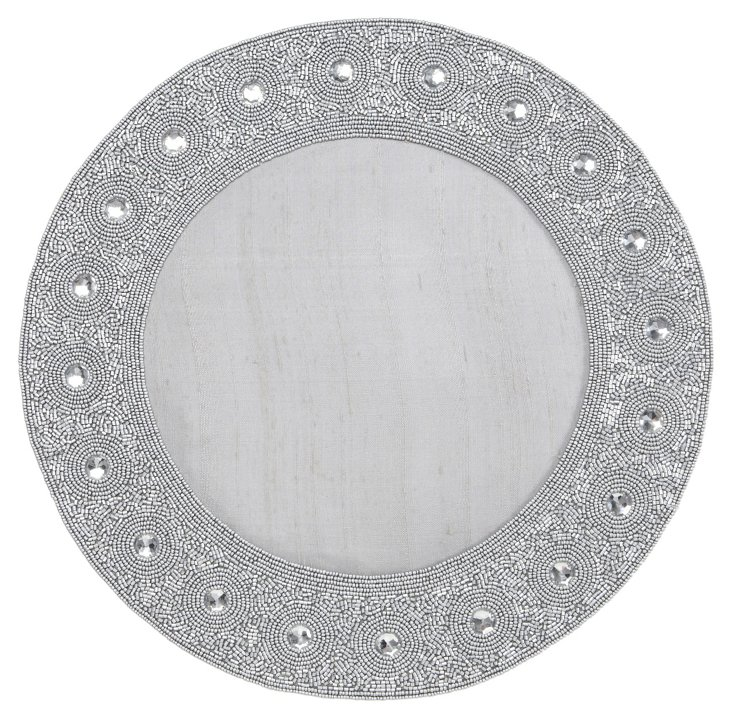 Beaded Circle Place Mat, Silver