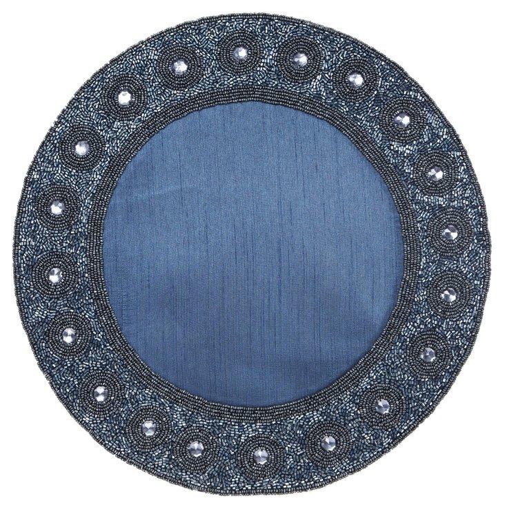 Beaded Circle Place Mat, Blue