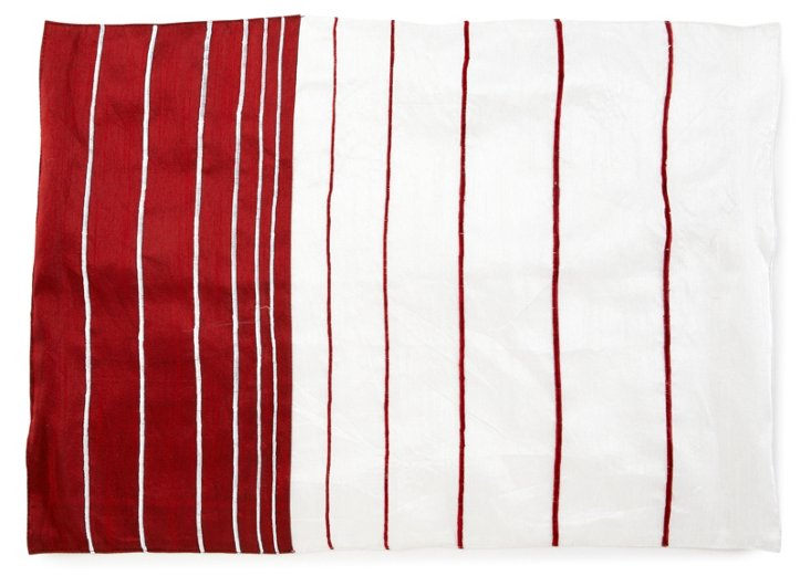 S/4 Candy-Cane Striped Place Mats