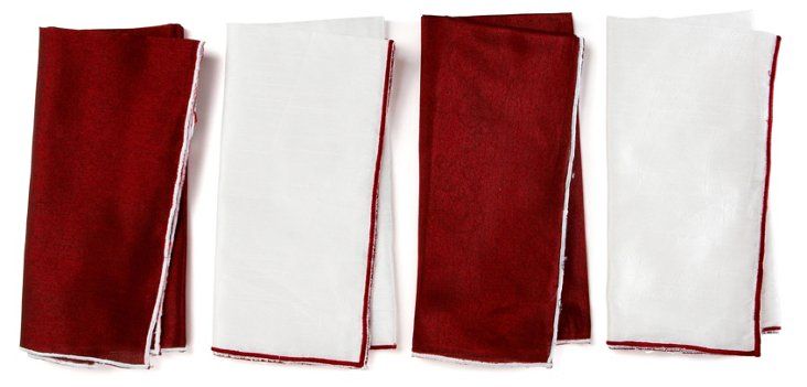 S/4 Assorted Festive Embroidered Napkins