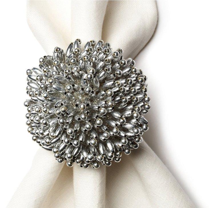 S/4 Sunburst Napkin Rings, Silver