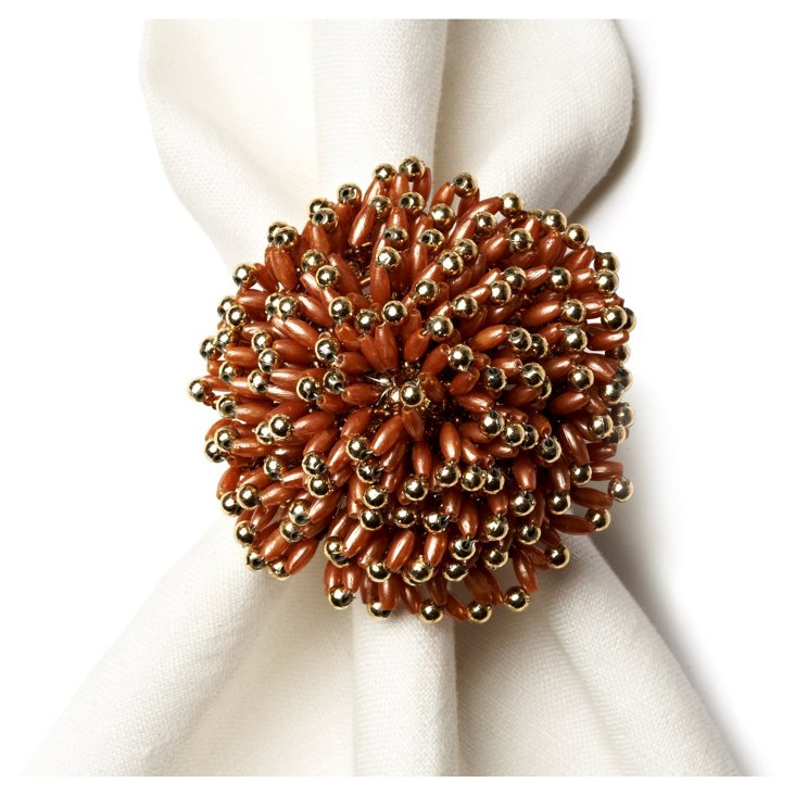 S/4 Sunburst Napkin Rings, Gold