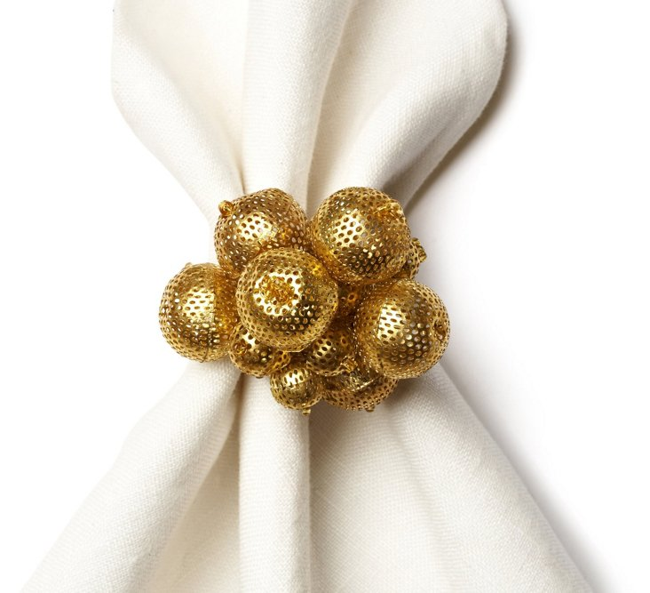 S/4 Metal Bubbles Napkin Rings, Gold