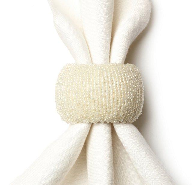 S/4 Beaded Napkin Rings, Ivory