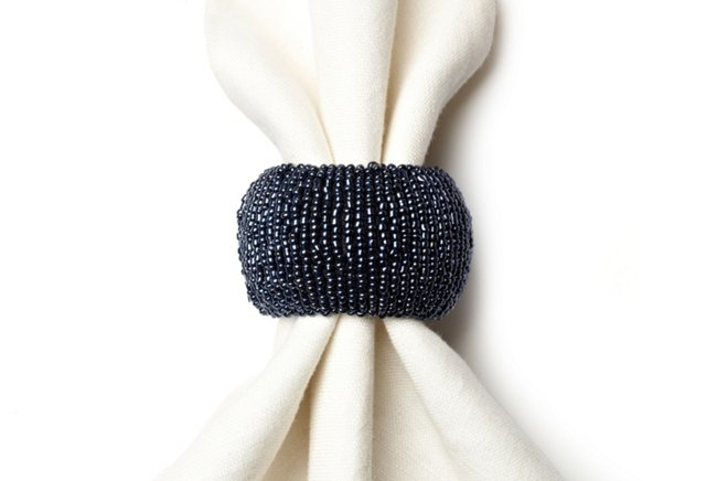 S/4 Beaded Napkin Rings, Blue