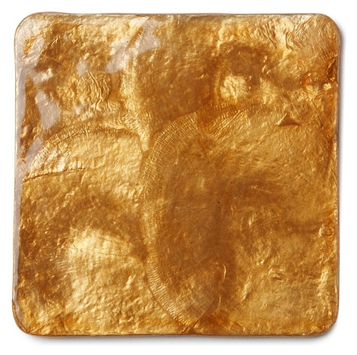S/4 Capiz Shell Coasters, Gold