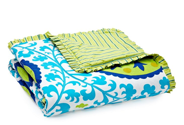 Suzani Quilt, Blue/Lime Green