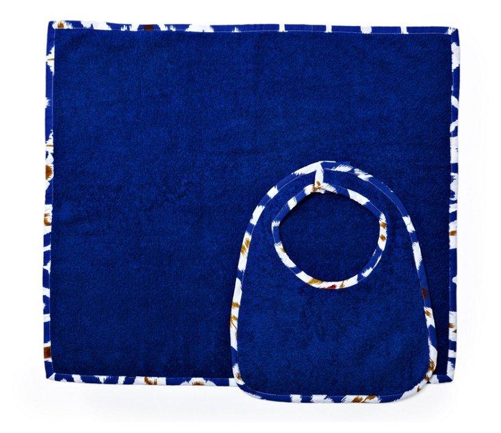 Ikat Bib & Burp Set, Blue