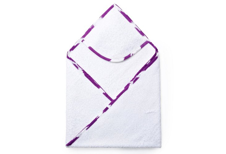 Ikat Hooded Towel, Purple/White