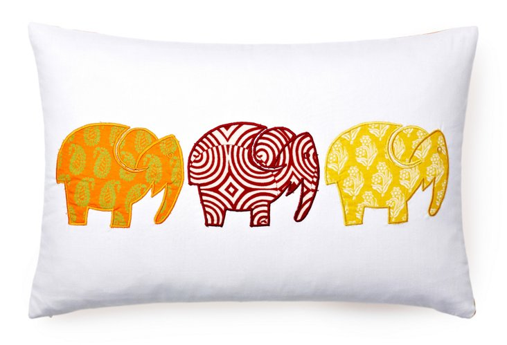 Elephant Patch Pillow, White/Multi